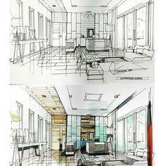 #workingroom #sketch #watercolour #interiordesign