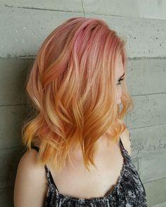 Tequila Sunrise ✨ #hairnerd #butterflyloft #pastelhair #hair  #joico #pravana