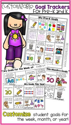 Create customized goal trackers for your Pre-K or K students with this easy system! Choose from a variety of age-appropriate ELA, Math, and Personal goals as well as weekly, monthly, or yearly goals.