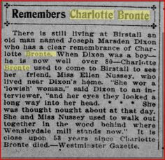 A neighbour of Ellen Nussey remembers Charlotte Brontë. San Francisco Call, 11 March 1908. newspaper