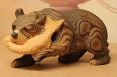 Bear Catching Salmon Woodcarving