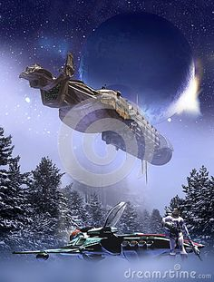 Mother-ship close to  several alien planets and satellites. A shuttle has landed on a cold snowy planet and its pilot is breathing without his helmet.