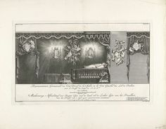 Jan Punt | Rechterzijde van de zaal met het praalbed van prins Willem IV, 1751, Jan Punt, François Changuion, Staten van Holland en West-Friesland, 1752 | Rechterzijde van de zaal met het praalbed met het lichaam van prins Willem IV. Onderdeel van de serie van vier platen van het praalbed waarop de op 22 oktober overleden prins Willem IV gedurende de maanden november en december van het jaar 1751 opgebaard heeft gelegen.