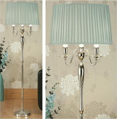 Floor Lamp with Duck Egg Blue Shade