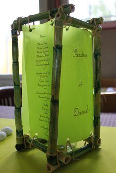 ai choisi de réaliser mes menus sous forme de photophores Accessoires pour réussir votre mariage sur http://yesidomariage.com