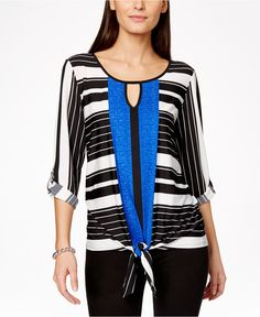 NY Collection Multimedia Printed Tie-Front Top - Tops - Women - Macy's