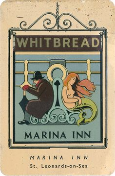 Whitbread miniature Pub Sign, The Marina, Saint-Leonards-on-Sea, Sussex Designed by Violet Rutter, 1949 Scans of a set of miniature pub signs designed and manufactured by the Whitbread. Pub Signs, Beer Signs, Shop Signs, Real Pirate Ships, Marina Inn, Uk Pub, Metal Signage, Nautical Signs, British Pub