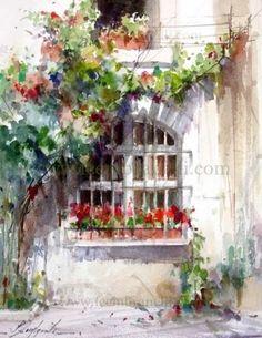 Gordes window, painting by artist Fabio Cembranelli