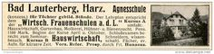 Original-Werbung/Anzeige 1914 - AGNESSCHULE / BAD LAUTERBERG IM HARZ - ca. 115 x 25 mm