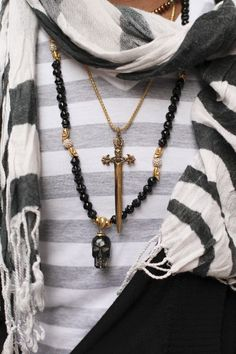 Layering necklace & scarf