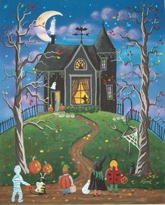 """Who Goes First?"" Halloween Folk Art by Kim's Cottage Art"