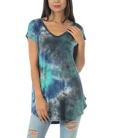 Look at this #zulilyfind! Aqua Charcoal Tie-Dye Side-Split Tunic by Cool Melon #zulilyfinds