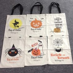 Wholesale Blanks Cotton Canvas Halloween Tote Bags Trick or Treat Candy Bag…