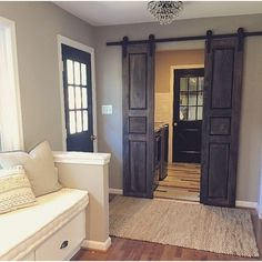 Raised Panel Interior Sliding Hinged Pantry BiFold Doors - can stain any color Interior Barn Doors, Closet Barn Doors, Pantry Doors, Rustic Barn Doors, Farmhouse Interior Doors, Bedroom Barn Door, Double Doors Interior, White Pantry, Double Barn Doors