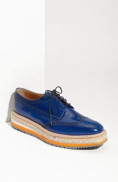 PRADA COBALT BLUE ESPADRILLE OXFORDS
