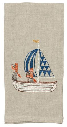 Find Sailing Foxes Tea Towel and more tea towels at Coral & Tusk. Shop from the best embroidered linens to compliment your home or gift. Towel Embroidery, Modern Embroidery, Hand Embroidery Patterns, Machine Embroidery, Embroidery Designs, Pirate Quilt, Coral And Tusk, Tea Towels, Needlework