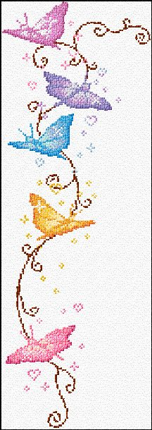 Free cross stitch pattern - Butterflies. I may try and do this as a bookmark.