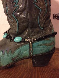 Turquoise and black boot bracelet by TexasTrends on Etsy