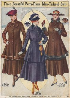1917 Man-Tailored Suits became popular for women when they began working more when men were at war. 1918 Fashion, Fashion History, Teen Fashion, Fashion Goth, Ladies Fashion, Winter Fashion, Edwardian Dress, Edwardian Fashion, Vintage Fashion