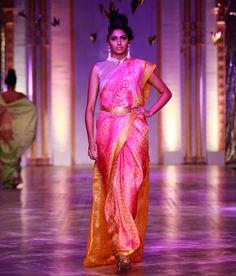 Neeta Lulla A lovely pink net saree embellished with kanjivaram appliqué. The saree sports a golden yellow kanjivaram pallu and matching borders. It is accompanied with a matching blouse piece. Ethnic Fashion, African Fashion, Indian Fashion, Celebrity Fashion Outfits, Celebrity Style, Celebrities Fashion, Pakistani Bridal Wear, Pakistani Dresses, Neeta Lulla