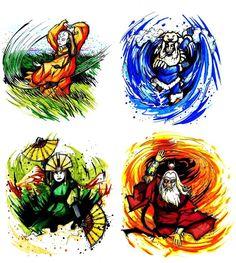 the four elements // the four Avatars: Yangchen, Kuruk, Kyoshi, Roku