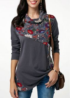 914e01118c6 Dark Grey Cowl Neck Printed Long Sleeve T Shirt