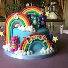 Care bear themed cake.