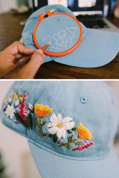 Silk Ribbon Embroidery Flowers Custom embroidered hats by Lexi Mire // hand embroidery - Lexi Mire unexpectedly tapped into a market for custom embroidered hats. Learn how her business is booming and she stays sane despite the popularity. Hand Embroidery Stitches, Silk Ribbon Embroidery, Hand Embroidery Designs, Embroidery Techniques, Embroidery Art, Cross Stitch Embroidery, Embroidery Supplies, Machine Embroidery, Embroidery Sampler