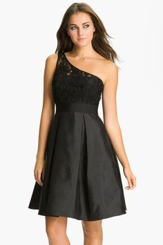 A Line One Shoulder Taffeta Short Black Bridesmaid Dresses