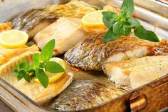 Oven baked carp fillets in baking pan