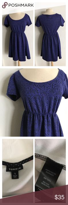 """🆕Torrid rose print dress *Torrid size 0 Torrid rose print dress. Torrid Size 0 (which is a size L). Measures 37"""" long with a 38"""" bust. Elastic waistband. Fully lined. Overall in very good used condition. Colors are a bluish purple and black.  💲Reasonable offers accepted ✅Bundle offers torrid Dresses"""