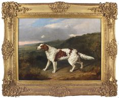 Antique Early 19thC Painting - Setter DogI Irish Red and White Setter