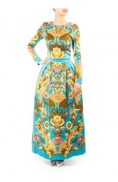 This flattering silhouette of sky blue and goldenrod dress is a signature of AW15 collection. Crafted in the UK from soft viscose, this ladylike style has a nipped-in waist and a full skirt. Balance the maxi length with heels.