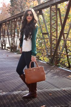 www.thesweetestthingblog.com, emily gemma, the sweetest thing, fashion blog, faux fur vest, white faux fur vest, jbrand jeans, tory burch boots, keirnan boot, rayban aviators, arm party