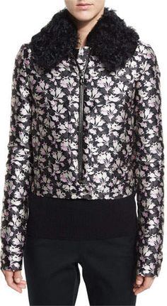 #affiliatead -- Giambattista Valli Jacquard Bomber Jacket w/Shearling Fur Collar, Pink/Gray -- #chic only #glamour always