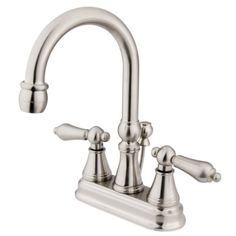 Bathroom Faucets DIY | Kingston Brass KS2618AL Governor 4Inch Centerset Lavatory Faucet with Brass PopUp with Metal lever handle Satin Nickel >>> See this great product. Note:It is Affiliate Link to Amazon. #BathroomFaucetsYouWillLove