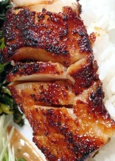 A take on Nobu's Black Cod with Miso Glaze, plus Gai Lan (Chinese Broccoli) with garlic, sesame oil and chili flakes. This dish is to die for!