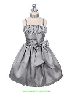 Silver Taffeta Bubble Flower Girl Dress