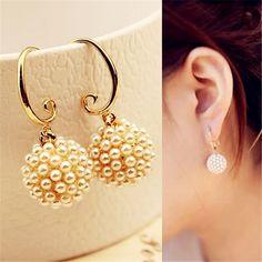 Lemon Value Bijoux Fashion Gold Plated Dangle Earrings Vintage Imitation Pearl Long Drop Earrings Women Jewelry Brincos B015