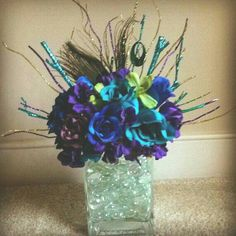 Peacock Shimmer Centerpiece by JustimagineByK on Etsy