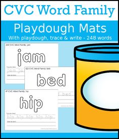 CVC Word Family Playdough Mats with Tracing & Writing Reading Games, Reading Centers, Reading Activities, Teaching Reading, Hands On Learning, Hands On Activities, Cvc Word Families, How To Teach Kids, Beginning Reading