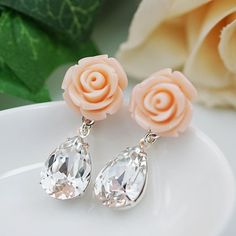 Romantic Pink flower and Clear White Swarovski Crystal Drop Earrings - Earrings Nation