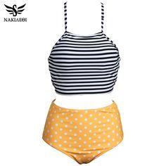 NAKIAEOI High Waist Swimsuit 2017 New Bikinis Women Swimwear Push Up Bikini Set Vintage Retro Bandage Bathing Suit Beach Wear