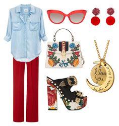 """summer love outfit"" by cristina-mihaela-gabriela-oprea on Polyvore featuring Rodarte, Gucci, Rails, FAUSTO PUGLISI and Marni"
