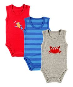 Loving this Red & Blue Sleeveless Bodysuit Set - Infant on #zulily! #zulilyfinds