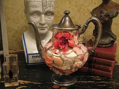 Pink mosaic teapot with a big vintage broach, mosaic art.