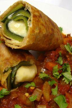 Chile Relleno Chimichangas with Chunky Garden Vegetable Salsa (vegan) ARE YOU SERIOUS? VEGAN? Swoooooooon. Yum!
