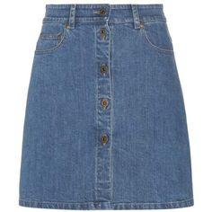 Miu Miu Denim Miniskirt ($760) ❤ liked on Polyvore featuring skirts, mini skirts, bottoms, saias, faldas, blue, denim skirts, mini skirt, blue denim mini skirt and short denim skirts
