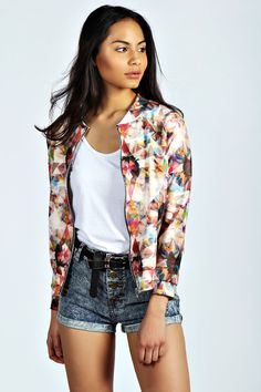 boohoo Naomi Digital Kaleidoscope Bomber Jacket, where can I get it!? Love the high waisted jeans and belt.