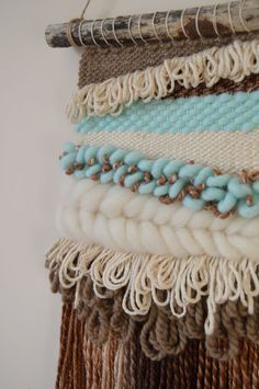 Woven Wall Hanging | Weaving | Woven Tapestry A unique, bohemian style woven wall hanging to beautifully decorate your home. Handwoven using a variety of bulky yarns and wool roving, and hung from a piece of driftwood. Made using a colour palette of mint, brown and cream, inspired by mint chocolate chip ice cream. Measures approximately 46 cm long (60 cm when hung) and 26 cm wide. Woven wall hangings are fragile and should be kept out of reach of children. Please try to avoid excessive ha...